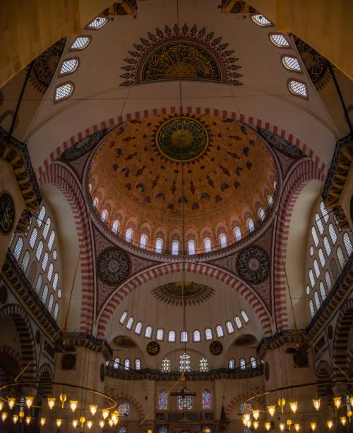 Istanbul, Turkey - 6.12.2018 : Sultan Suleiman Mosque Interior stock photo