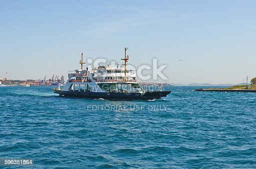 Istanbul, Turkey - April, 03, 2016, car ferry of Golden Horn Bay Asian coast background, slice of life, editorial.