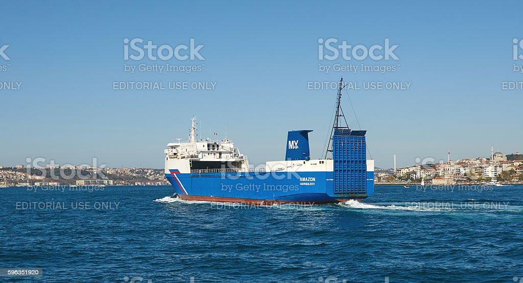 Istanbul, Turkey, April, 03, 2016, cargo ship, Golden Horn, edit royalty-free stock photo