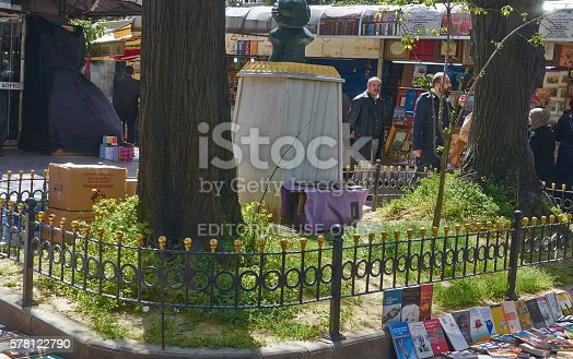 Istanbul, Turkey - April, 03, 2016, Old Book Bazaar, house for cats, build from old boxes, Turkish people are very tolerant for animals, slice of life, editorial.