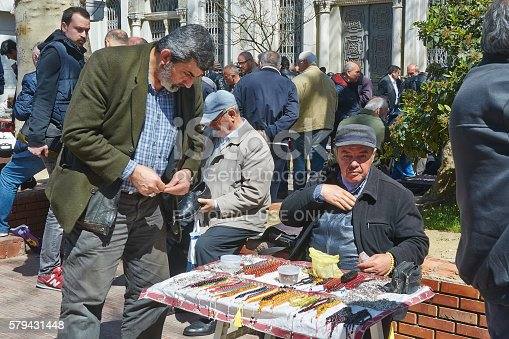 Istanbul, Turkey - April, 03, 2016, Flea market near the old book market. This is a very busy place. Many people buy and sell a variety of new and old items. Slice of life. editorial.