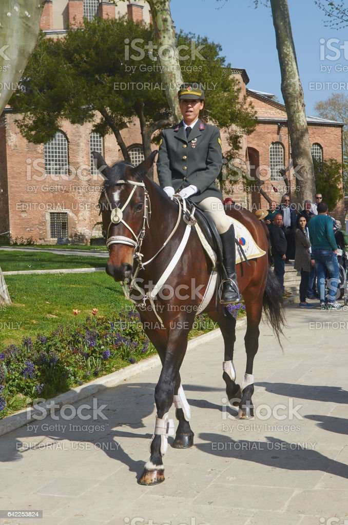 Istanbul, Turkey, April, 06, 2016, Horse Guards Topkapi Palace, editorial. stock photo