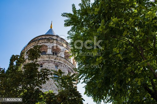 Istanbul, Turkey, Middle East - June 22, 2019: view of the Galata Tower (Galata Kulesi or Christea Turris), a medieval stone tower built by Genoese in 1348 in the Karakoy quarter, cone-capped cylinder dominating the skyline and offering panoramic vista of the city