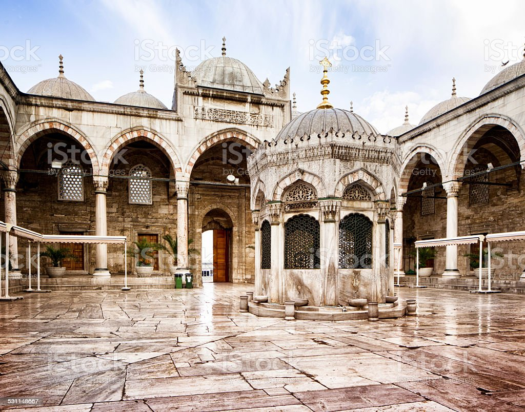 Istanbul Turkey New mosque wet interior courtyard stock photo