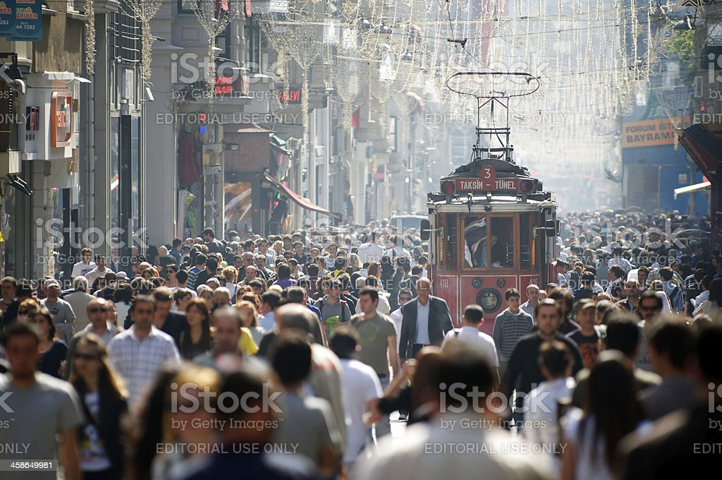 Istanbul Turkey İstiklal Avenue Tram and Crowds royalty-free stock photo