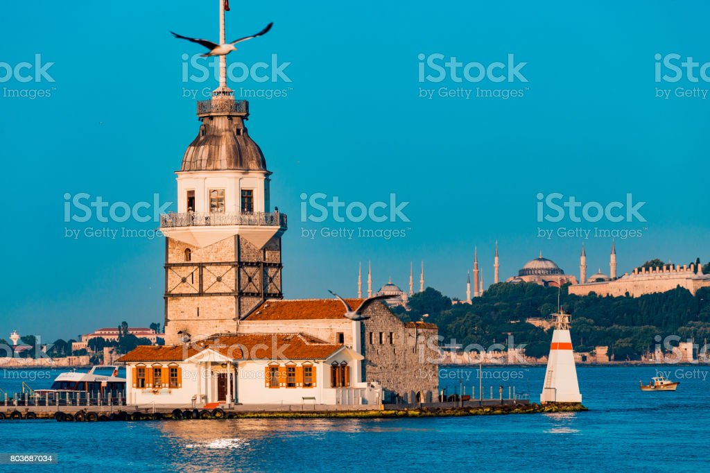 Istanbul, Turkey with Hagia Sophia and Blue Mosque at a distance stock photo