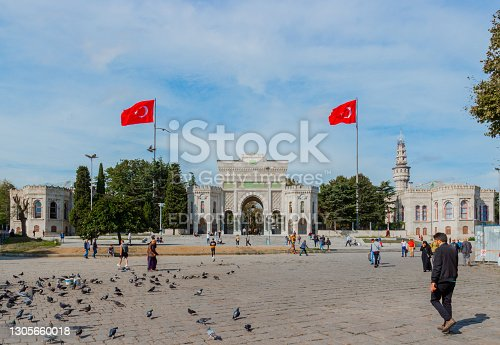 Istanbul, Turkey - October 7, 2019: Beyazit Square and main entrance to the Istanbul University