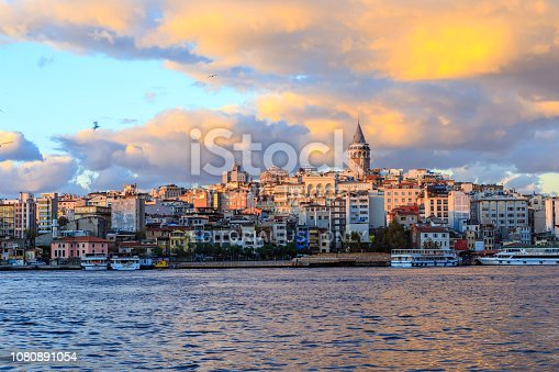 istanbul, Turkey -25 Oct 2018: Istanbul view across the Golden Horn with the Galata Tower in the background on Oct 25, 2018 in Istanbul, Turkey.