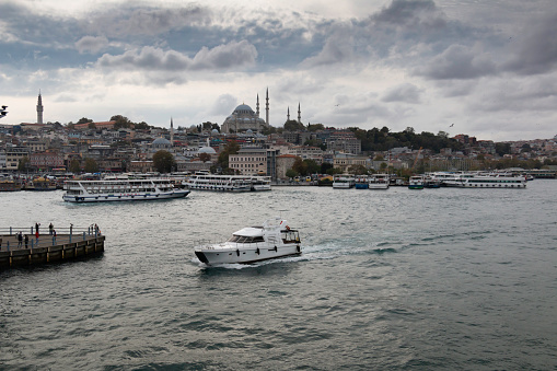 October 8,2021 İstanbul      Istanbul view from the Galata Bridge. Suleymaniye Mosque and Beyazit Tower