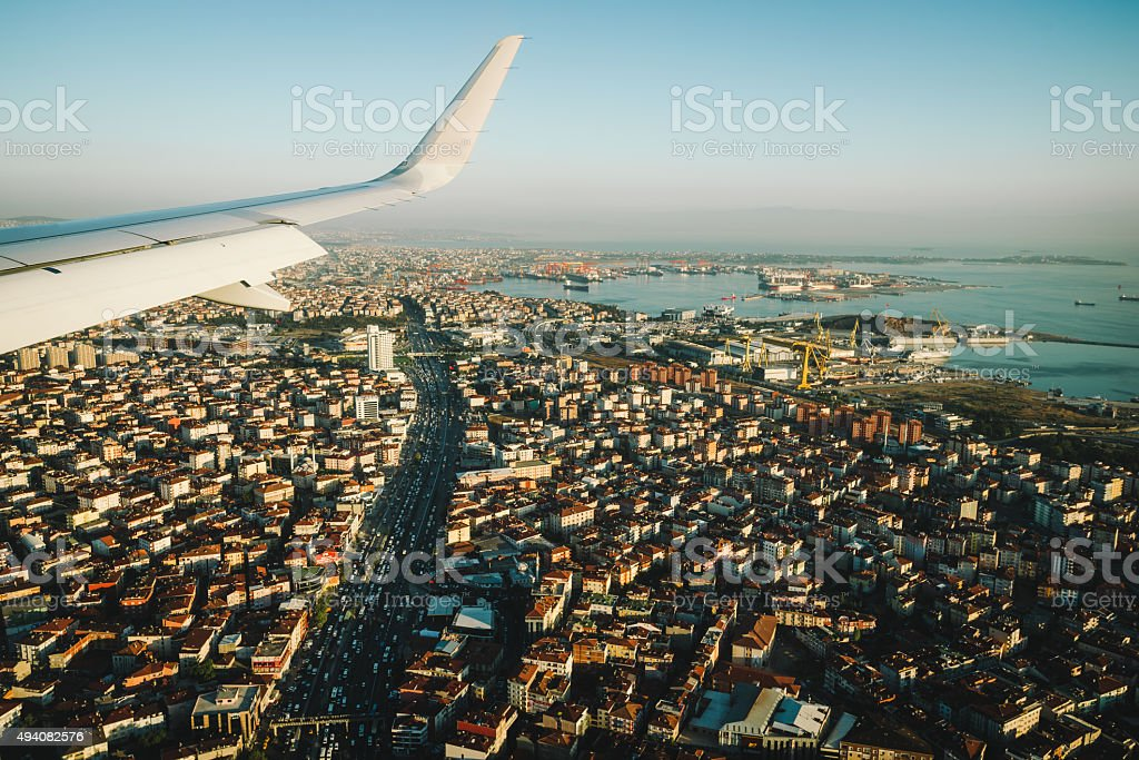 Istanbul view from the window of an airplane stock photo