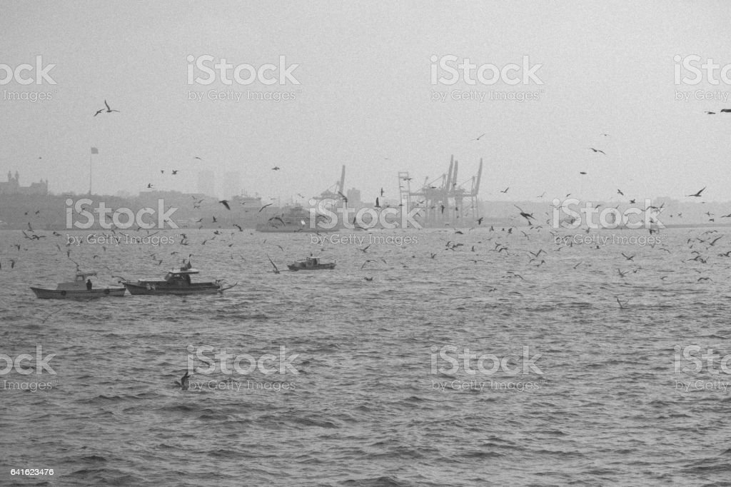 Istanbul view in fog - Monochrome stock photo