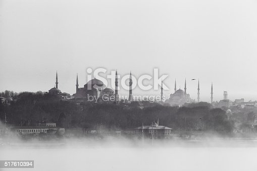 Foggy weather day of Istanbul city view with Hagia Sophia, Sultanhmet Mosque