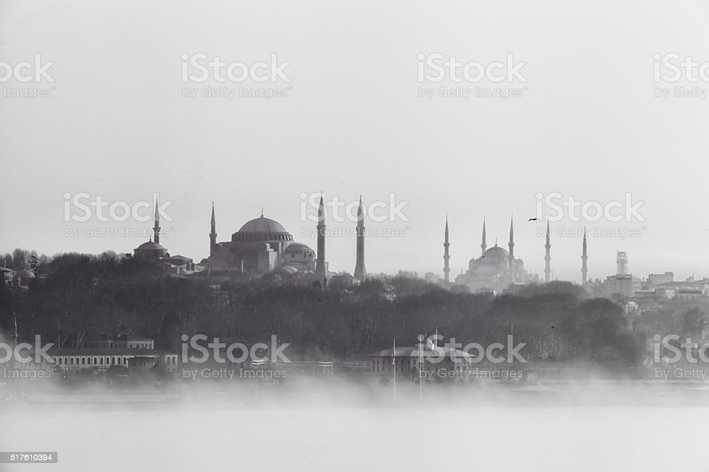 Istanbul view in fog stock photo
