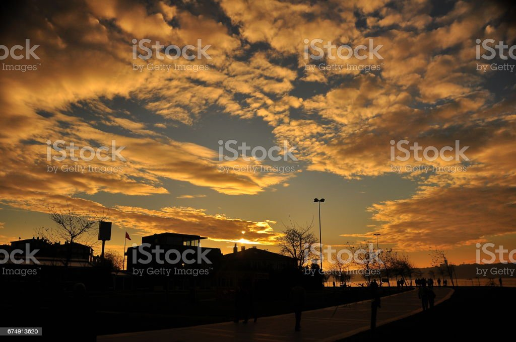 Istanbul View of the sunset in the rays of the sun. Istanbul is the largest city in Turkey. royalty-free stock photo