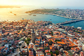 Istanbul views from Helicopter. Galata tower in İstanbul.