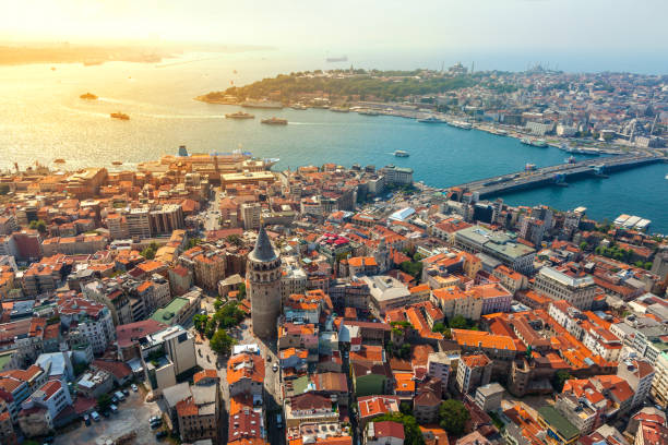 Istanbul views Istanbul views from Helicopter. Galata tower in İstanbul. turkish stock pictures, royalty-free photos & images