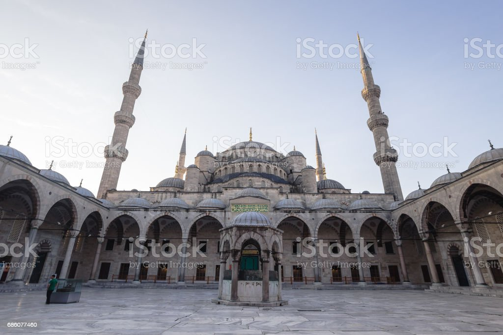 Istanbul's Blue Mosque in early morning hours stock photo