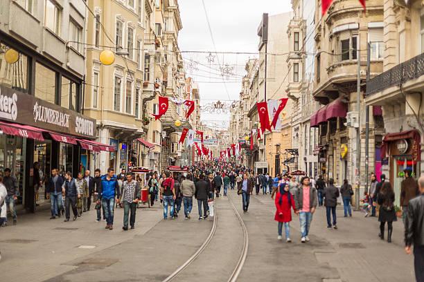 istiklal avenue crowds in istanbul - istiklal avenue bildbanksfoton och bilder