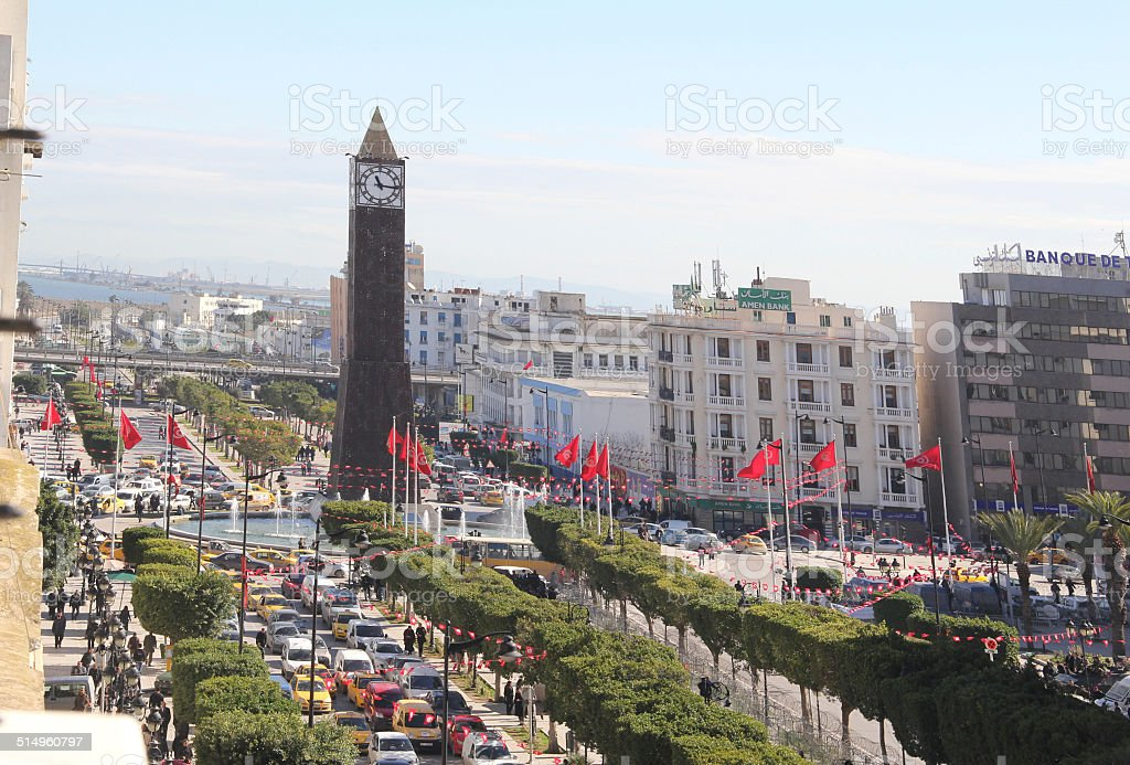 Istiqlal Roundabout - Tunis stock photo