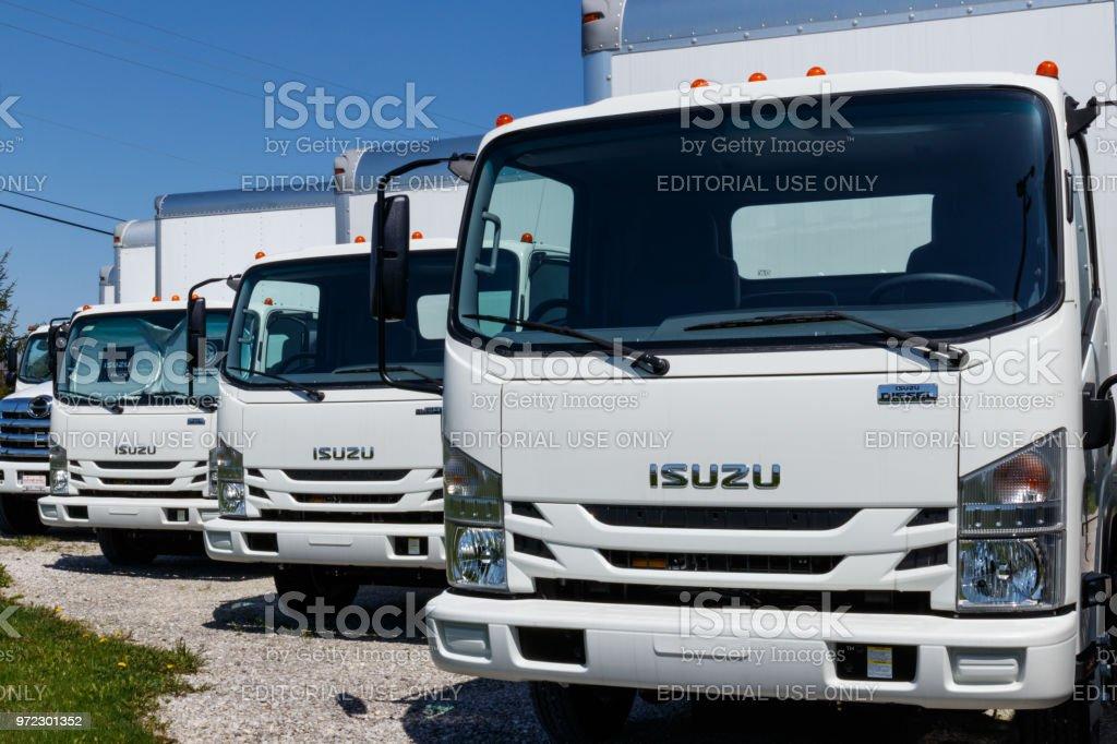 Isuzu Motors truck dealership. Isuzu is a Japanese commercial vehicle and diesel engine manufacturer II stock photo