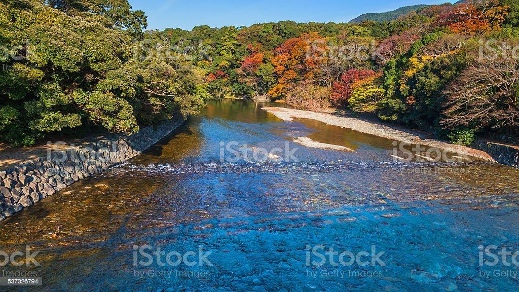 Isuzu river at Ise Jingu Naiku (Ise - inner shrine) stock photo