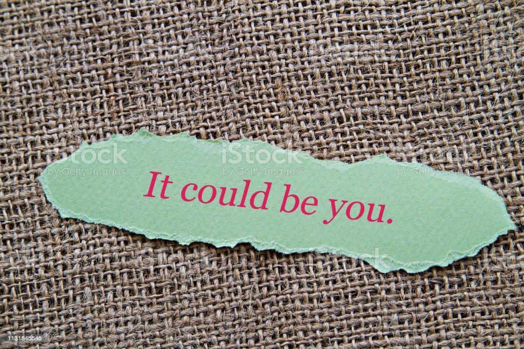 Sen olabilirsin. stok fotoğrafı