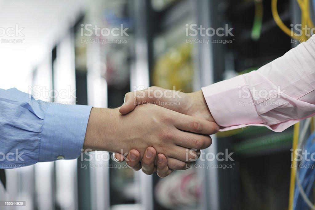 it engineers in network server room royalty-free stock photo