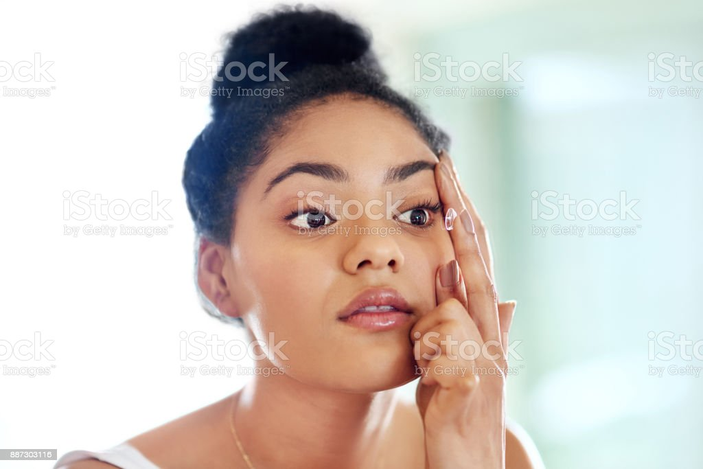 It helps to correct her vision stock photo