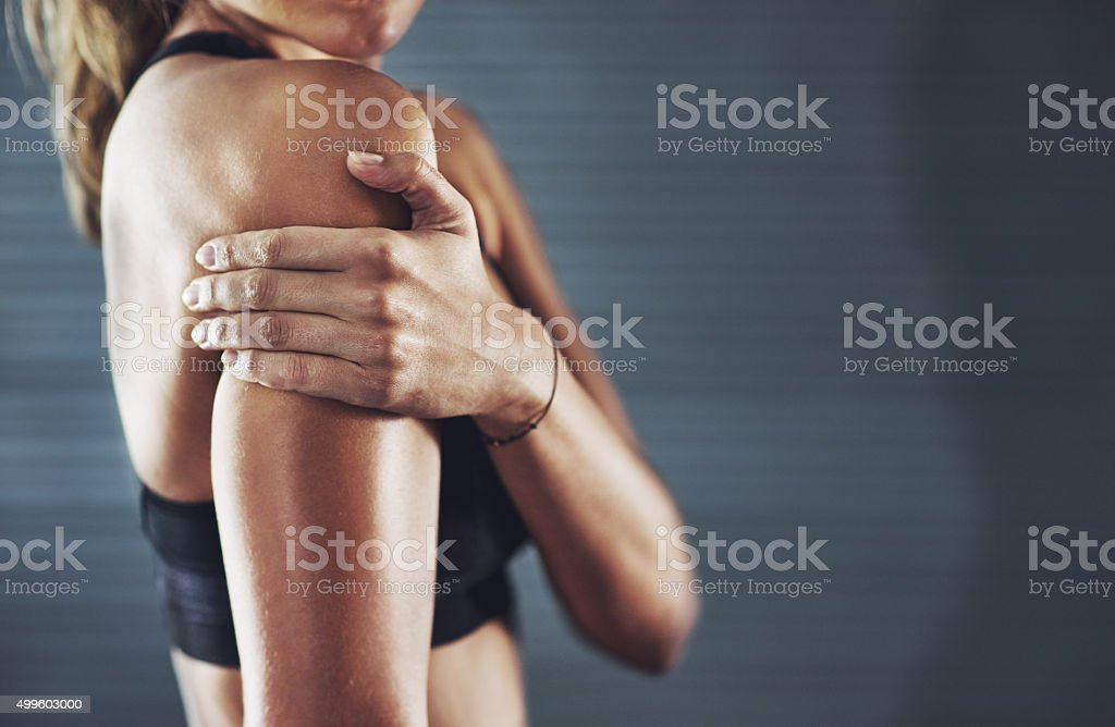 It hurts but the workout was worth it stock photo