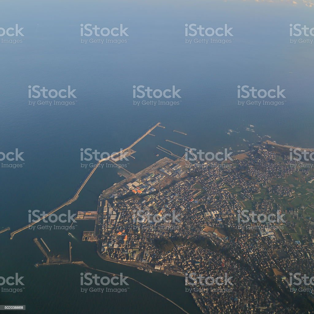 It is a aerial photograph of Choshi, Chiba Prefecture. stock photo