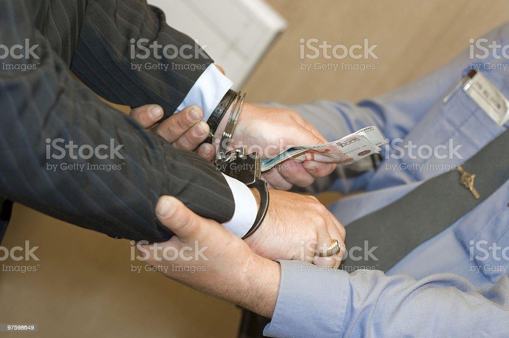 Il est retenu à la réception de pot-de-vin photo libre de droits