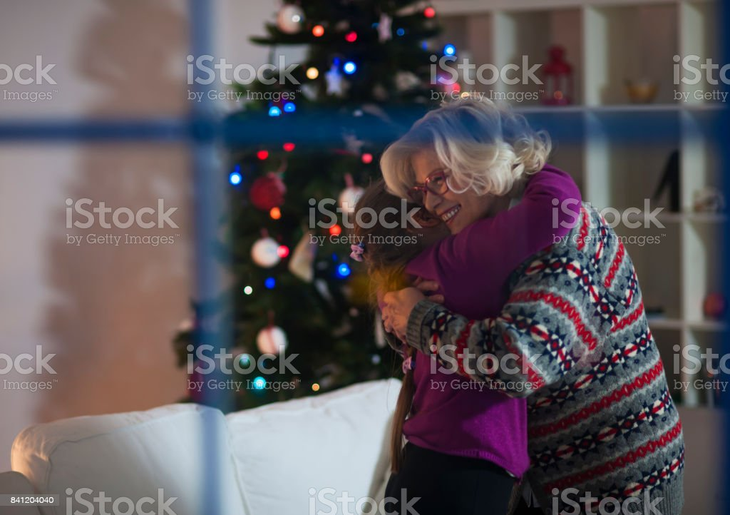 It is great Christmas time with grandma stock photo