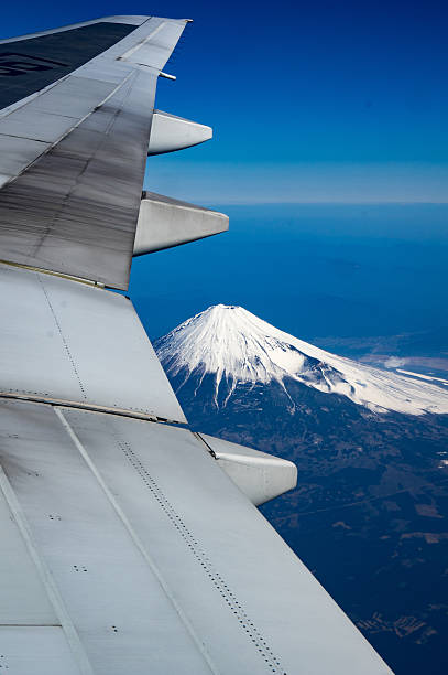 It is Mt. Fuji taken from an airplane stock photo