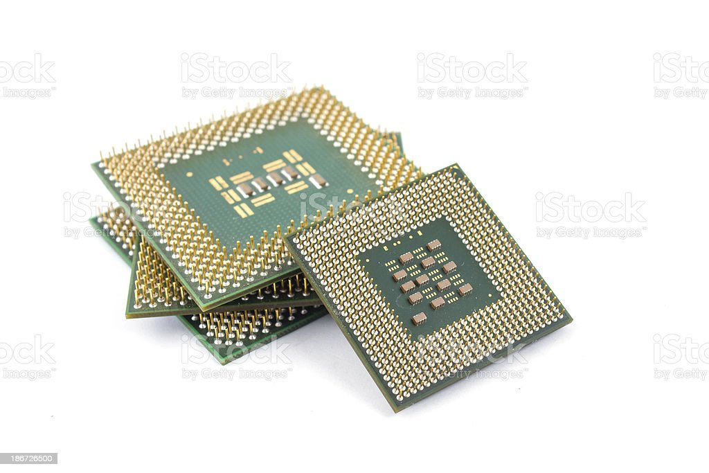 It is silicone chip CPU on white background stock photo