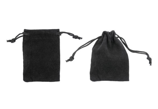 It is two black drawstring bag packaging isolated on white stock photo
