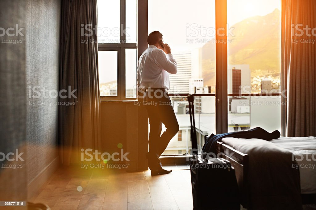 It was a long day but I'm back at the hotel stock photo