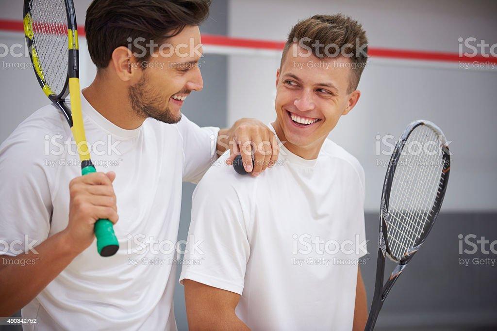 It was great match buddy! stock photo