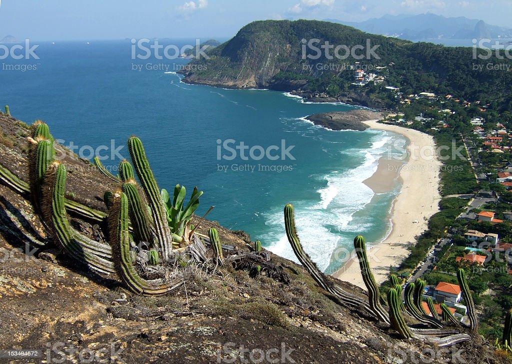 Itacoatiara beach view of Costao Mountain top stock photo