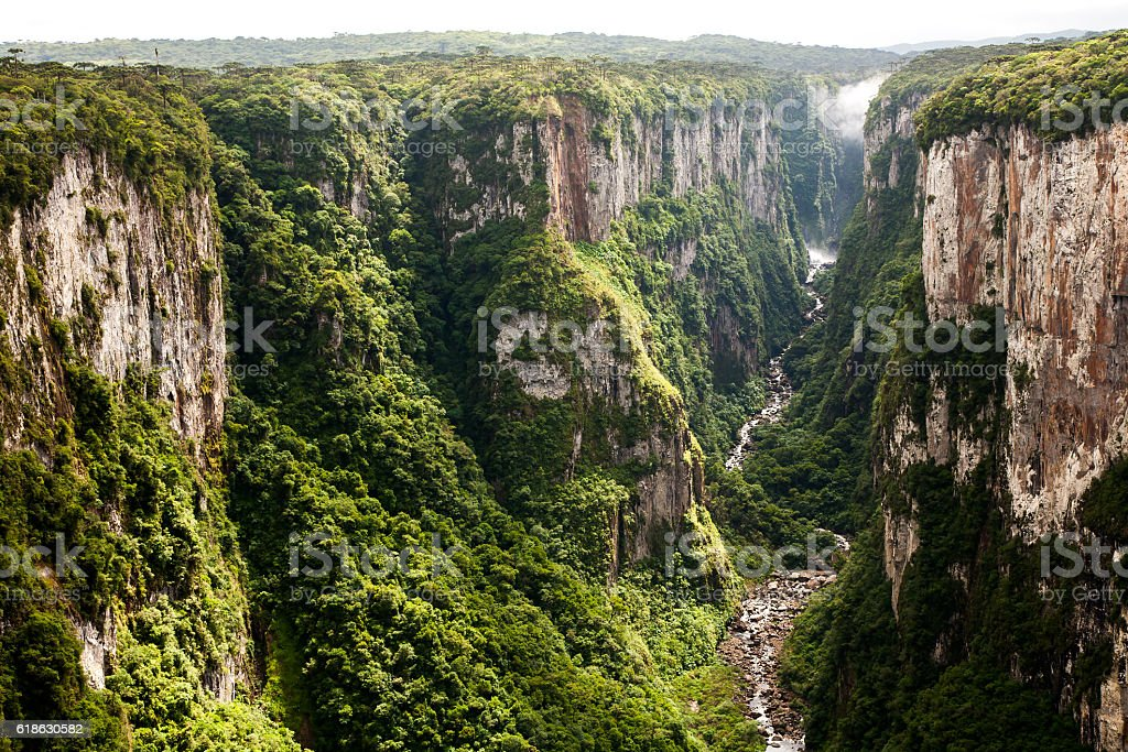 Itaimbezinho canyon cliffs in southern Brazil stock photo