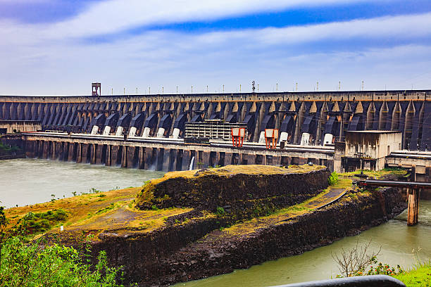 Itaipu Dam, Brazil And Paraguay: A Section Of The Massive Dam Located Between The Two Countries - View Of Penstock Pipes stock photo