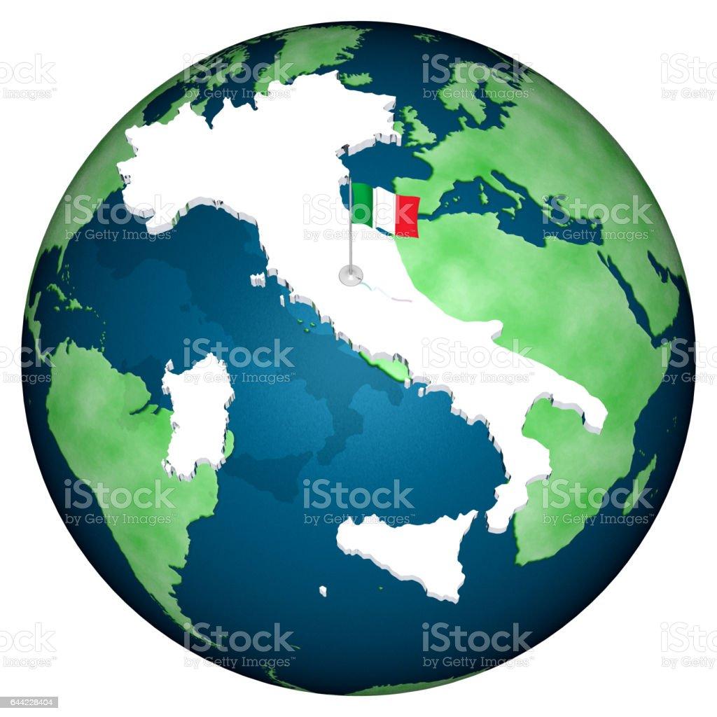 Italia bandiera sfondo mondo'n stock photo