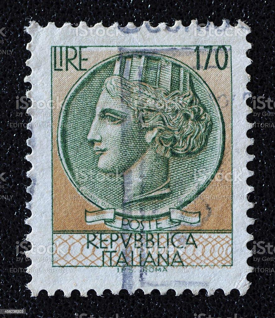 Italia Turrita postage stamp royalty-free stock photo