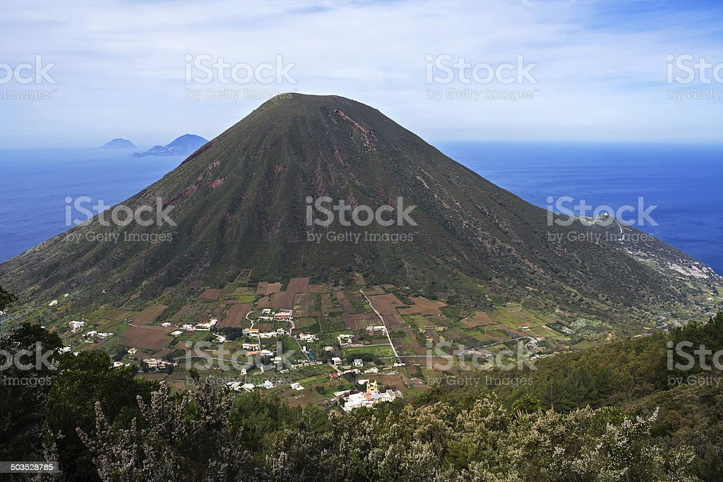 Italian Aeolian Islands mountain volcano in Sicily stock photo