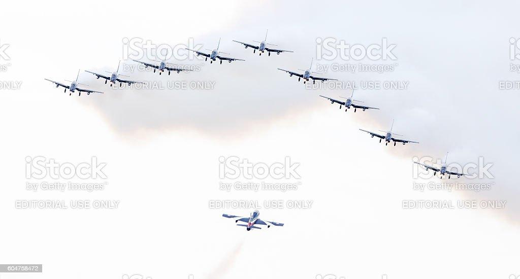 Italian aerobatic team Frecce Tricolori (Tricolor arrows) stock photo