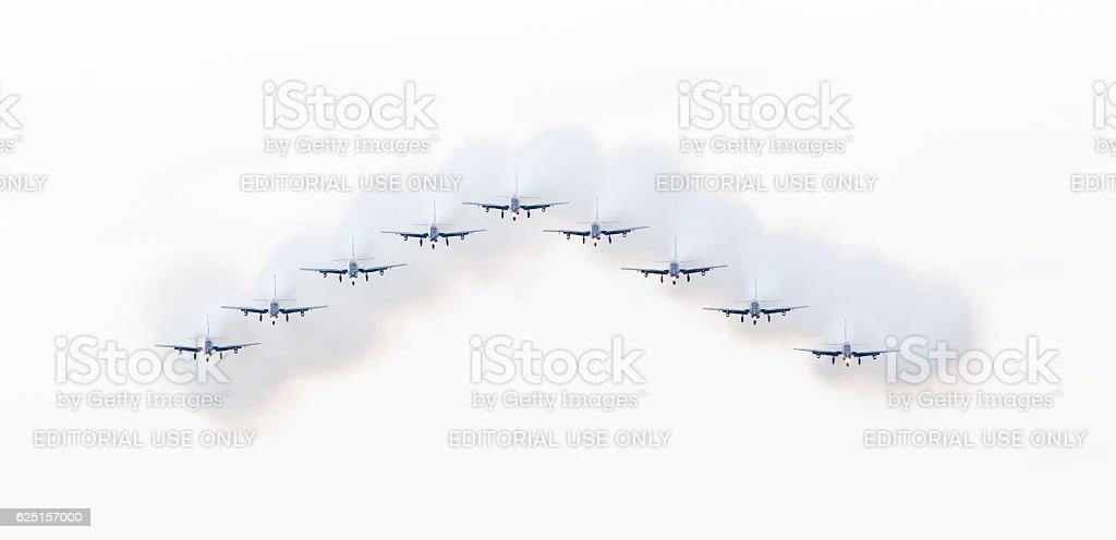 Italian aerobatic team Frecce Tricolori stock photo