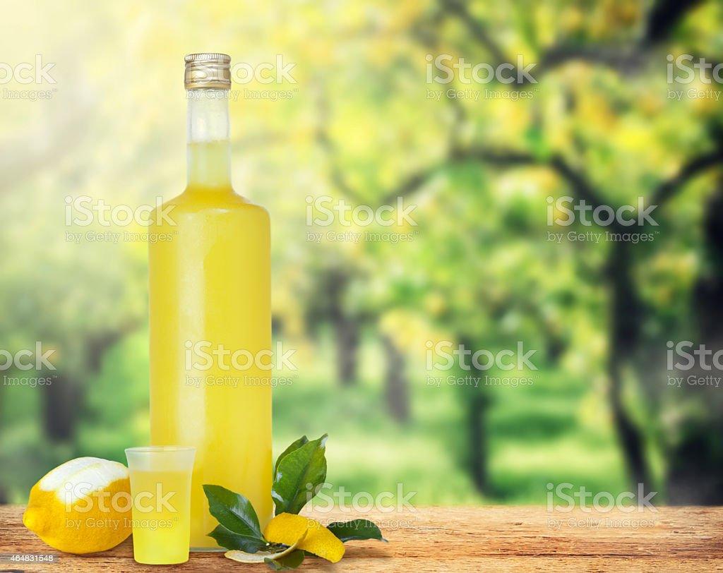 Italian alcoholic beverage, Limoncello. stock photo