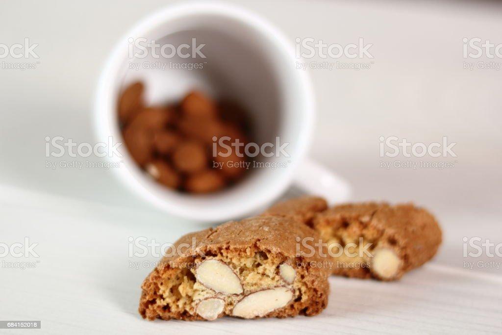 Italian almond biscuits cantuccini royaltyfri bildbanksbilder