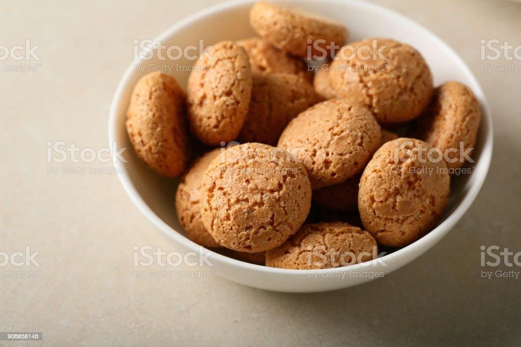 Italian almond biscuits, food closeup stock photo