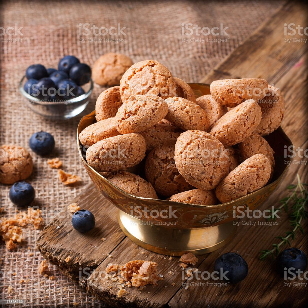 Italian almond cookie amaretti stock photo