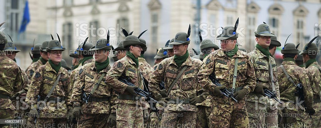 Italian alpine army soldiers during a national meeting in Turin stock photo